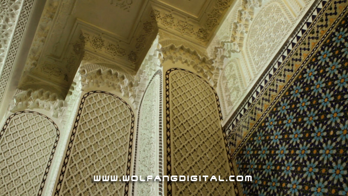 Delicate carvings- Italian mozaic and white gold adorn the walls of the National Mosque's interior.