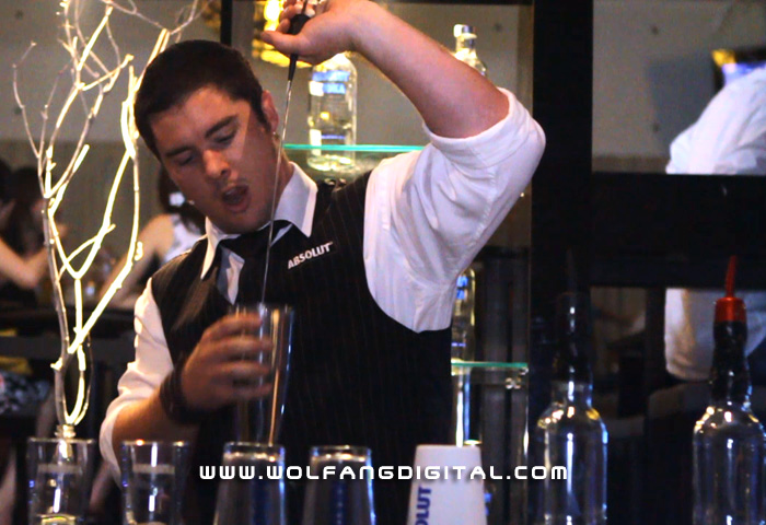 Absolut Vodka bartender shows off his flaring skills during the Absolut Eclectic roadshow