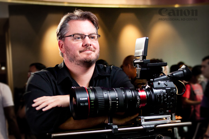 Film Maker Vincent Laforet with C300 at Launch of Cinema EOS SEA Tour, Vivo City, Singapore.