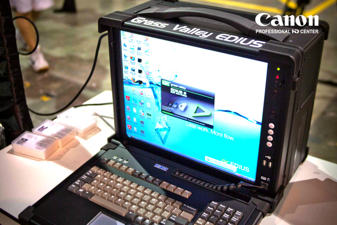 Grass Valley in a D'cube mobile workstation let's you edit on the go with HD-SDI, HDMI and lots of other essential slots.