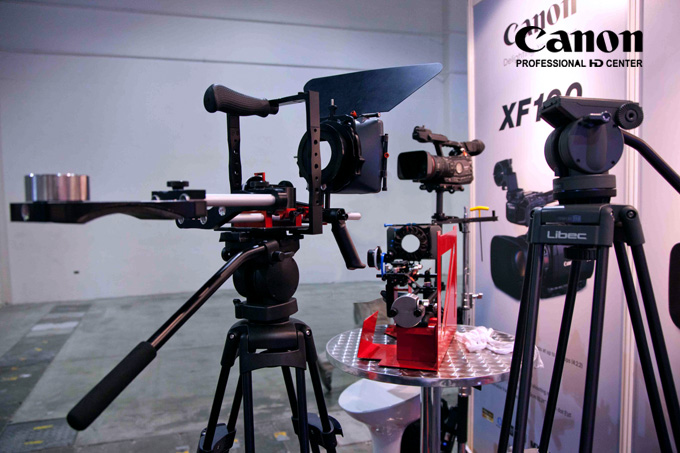Some of the HDSLR rigs on display from DOP and Genus with Libec tripods.