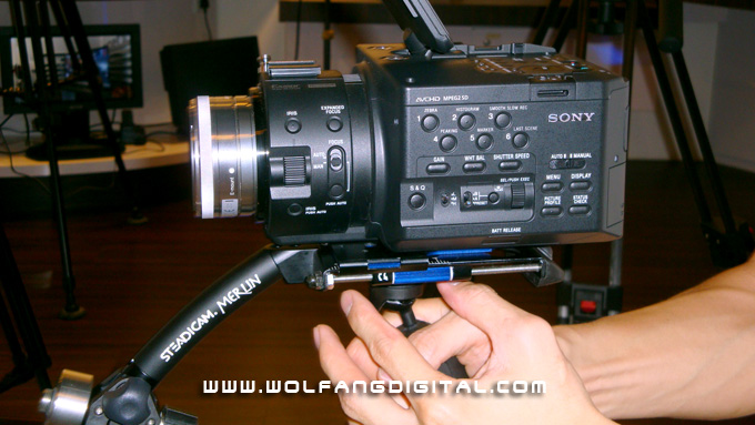 Chiau Ran used a smaller lens on the FS100 to reduce weight on the Steadicam Merlin.