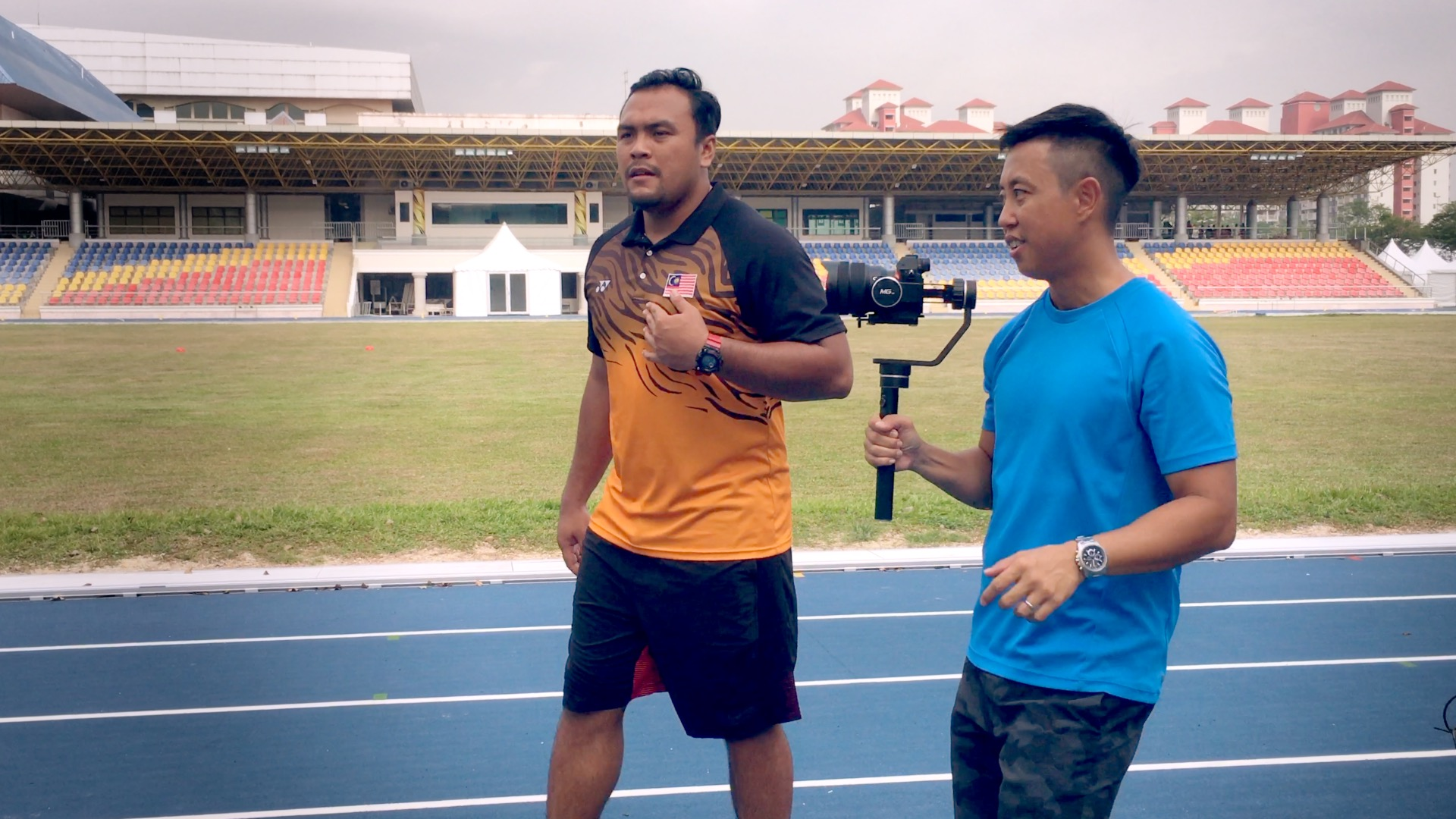 Filming with Ziyad Zolkefli, world record holder for shot put and proudly Malaysian