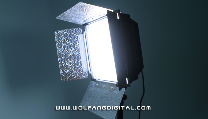 Benzzo LED Panel for location lighting. It's lightweight but produces intense light with long throw