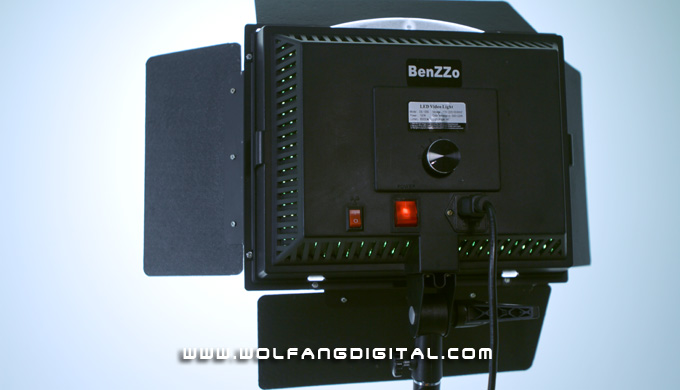 The rear view of Benzzo LED panel: power button, power socket and switch for integrated internal fan