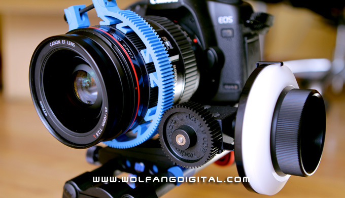 5D Mark II with microFollowFocus v2 on the Captain Stubling handheld rig