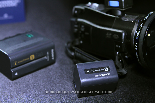 Battery size comparison. The CX700 uses a much smaller battery compared to the other professional camcorders.