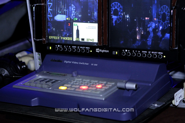 Datavideo SE500 video switcher processes signals from all 3 cameras. The operator decides what gets broadcasted.